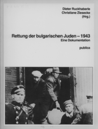 This event poster shows the cover of an exhibition catalog with written text and an image of Jews being deported.